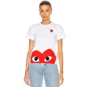 Comme Des Garcons Play Red Emblem Heart Tee M